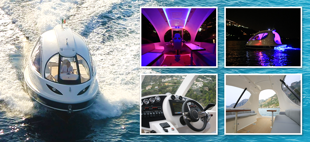 ultra-custom pocket yacht flying on the sea