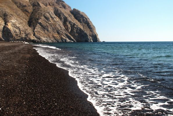 Perissa Black Sand Beach, Santorini,Greece