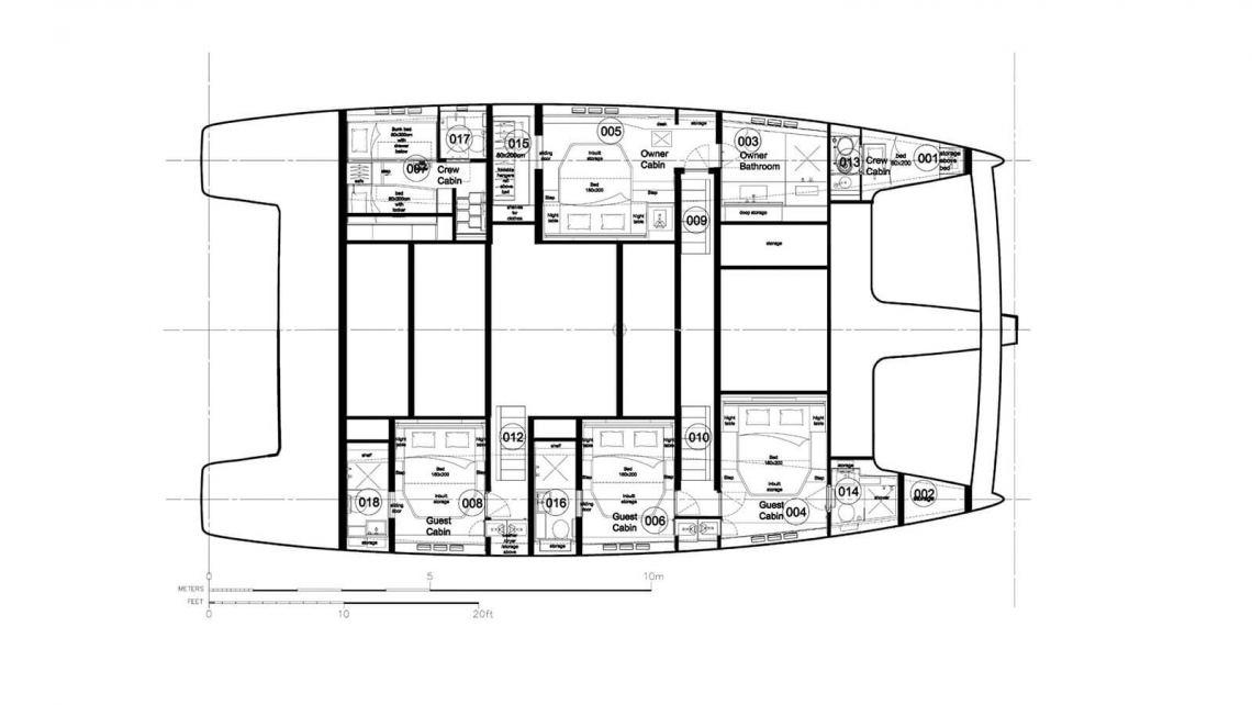 Sunreef-catamaran Sail 60 Layout 1