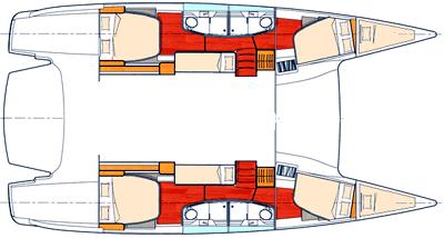 salina 48 catamaran layout